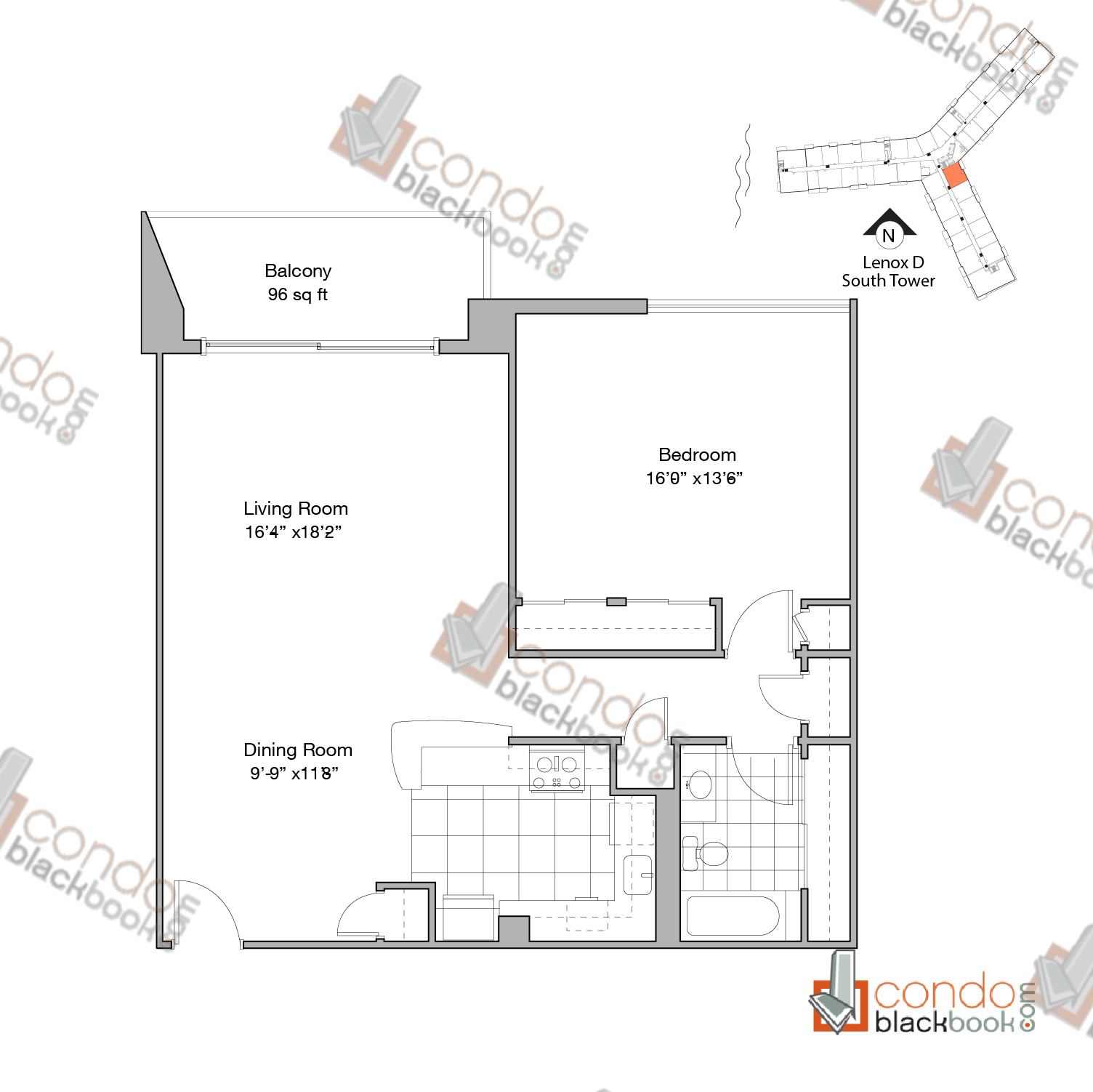 Floor plan for Flamingo South Beach South Beach Miami Beach, model Lenox-D, line Line 02, 1/1 +Balcony bedrooms, 923 sq ft