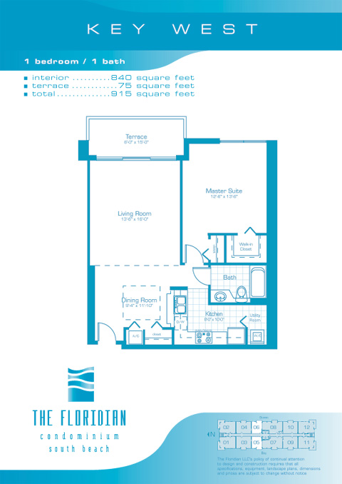 Floor plan for Floridian South Beach Miami Beach, model KeyWest, line Lines 05,06, 1/1 bedrooms, 840 sq ft