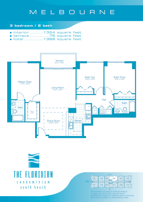 Floor plan for Floridian South Beach Miami Beach, model Melbourne, line Line 07, 3/2 bedrooms, 1372 sq ft