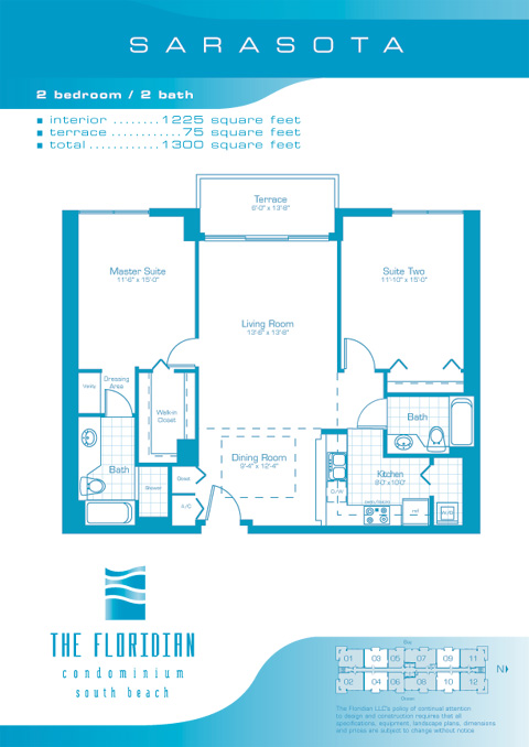 Floor plan for Floridian South Beach Miami Beach, model Sarasota, line Lines 03,04,09,10, 2/2 bedrooms, 1225 sq ft