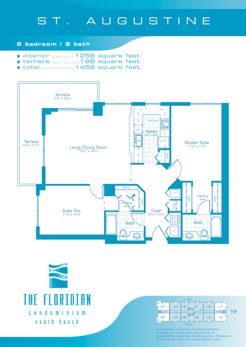 Floor plan for Floridian South Beach Miami Beach, model St.Augustine, line Lines 01,02,11,12, 2/2 bedrooms, 1258 sq ft