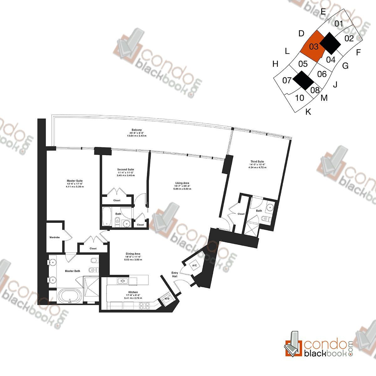 Floor plan for ICON South Beach South Beach Miami Beach, model Residence D, line 03, 3/3 bedrooms, 2,158 sq ft