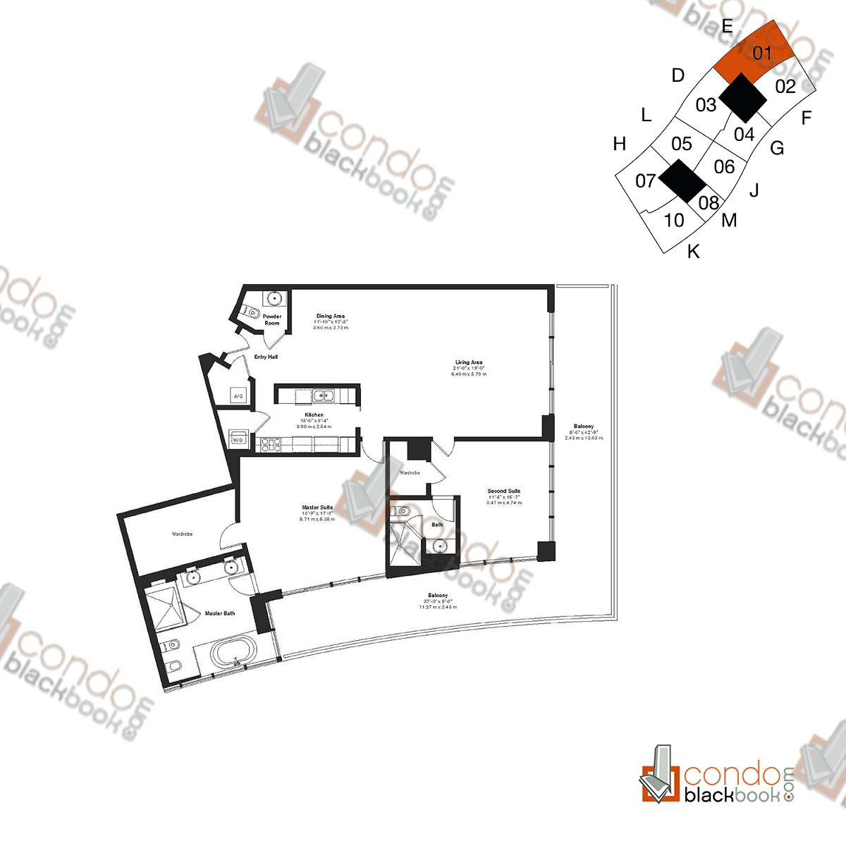 Floor plan for ICON South Beach South Beach Miami Beach, model Residence E, line 01, 3/3.5 bedrooms, 2,145 sq ft