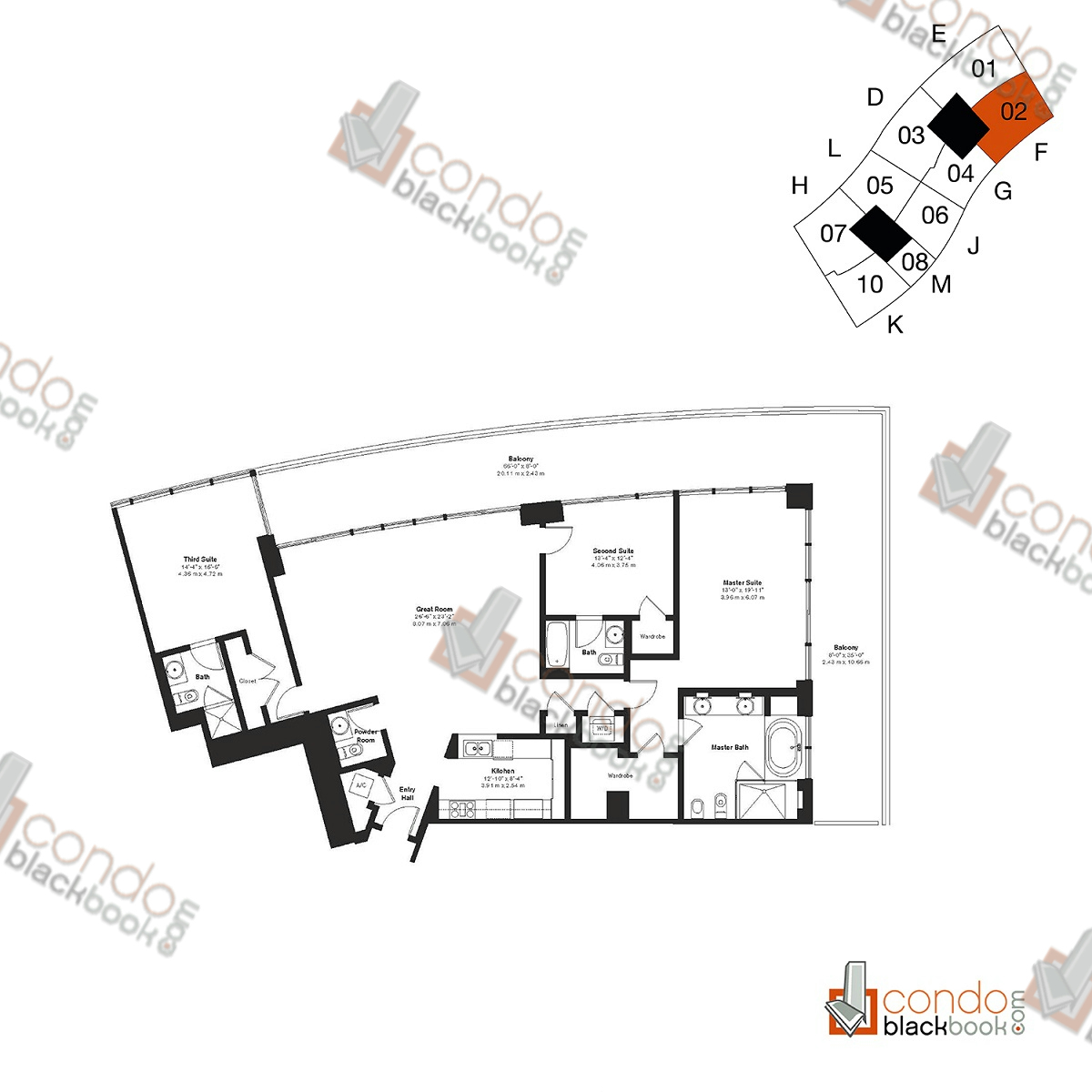 Floor plan for ICON South Beach South Beach Miami Beach, model Residence F, line 02, 2/2.5 bedrooms, 1,933 sq ft