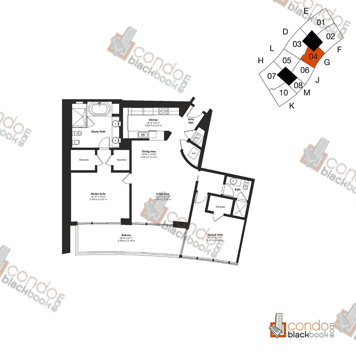 Floor plan for ICON South Beach South Beach Miami Beach, model Residence G, line 04, 2/2 bedrooms, 1,563 sq ft