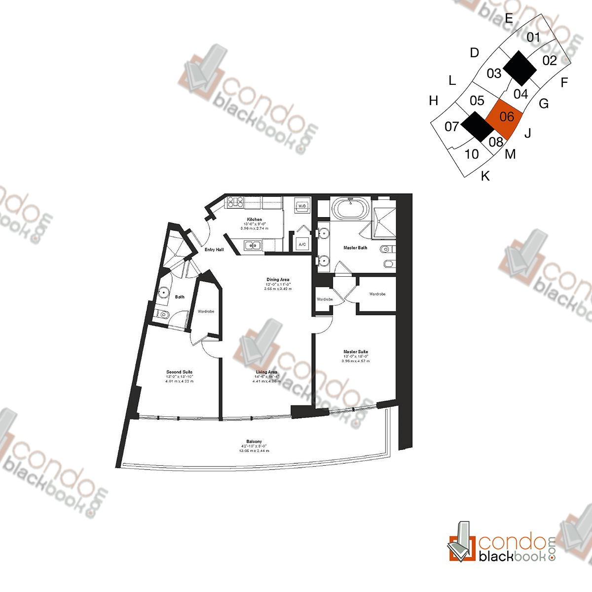 Floor plan for ICON South Beach South Beach Miami Beach, model Residence J, line 06, 2/2 bedrooms, 1,452 sq ft