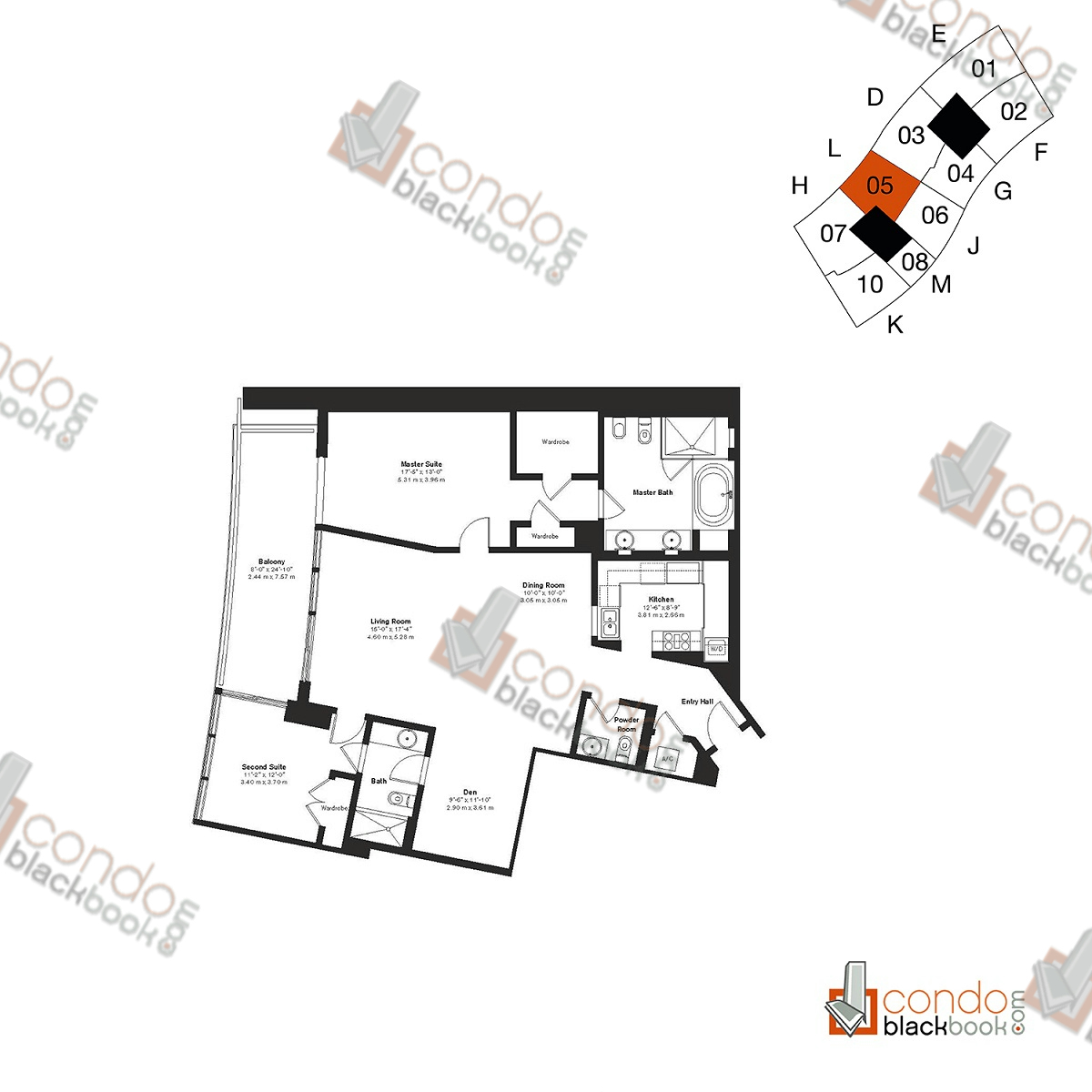 Floor plan for ICON South Beach South Beach Miami Beach, model Residence L, line 05, 2/2.5 bedrooms, 1,750 sq ft