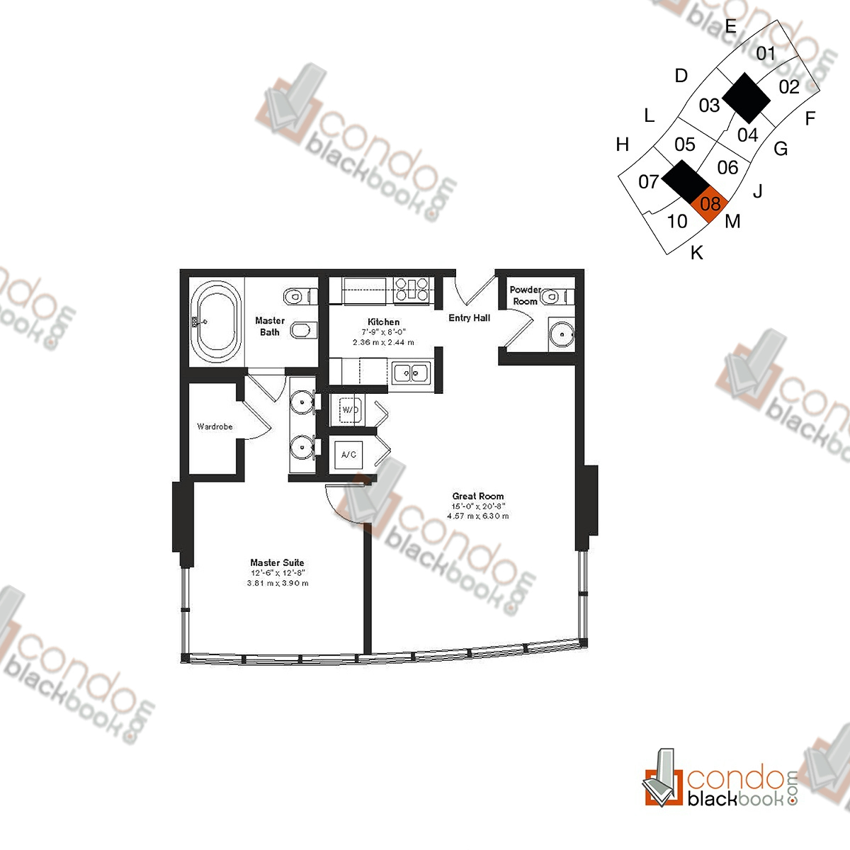 Floor plan for ICON South Beach South Beach Miami Beach, model Residence M, line 08, 1/1.5 bedrooms, 851 sq ft