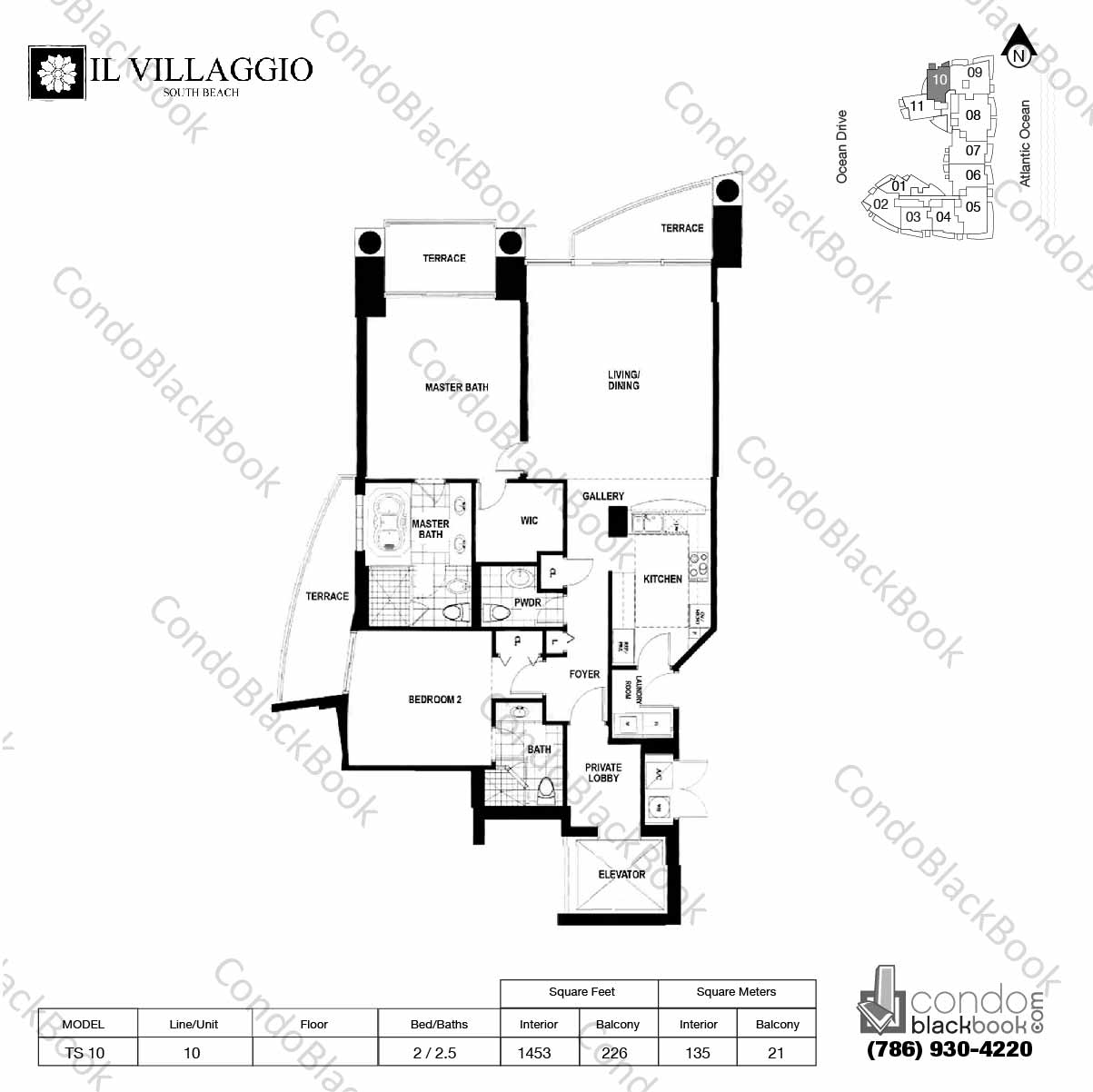 Floor plan for Il Villaggio South Beach Miami Beach, model TS-10, line 10, 2 /2.5 bedrooms, 1453 sq ft
