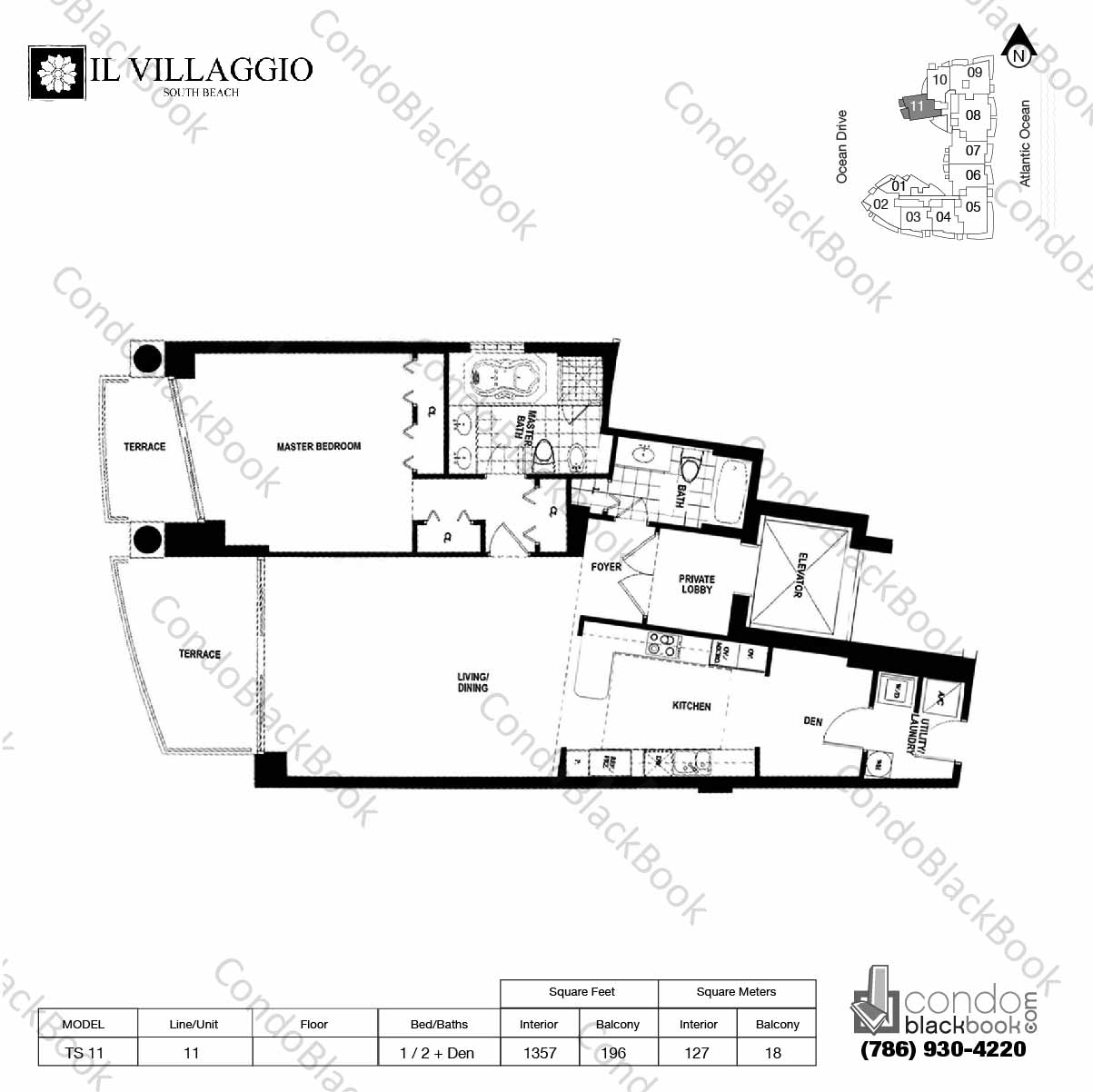 Floor plan for Il Villaggio South Beach Miami Beach, model TS-11, line 11, 1 / 2 + Den bedrooms, 1357 sq ft