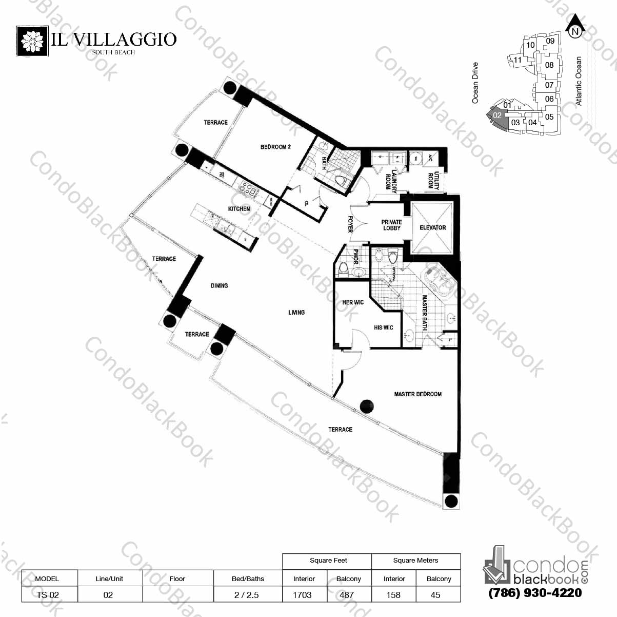 Floor plan for Il Villaggio South Beach Miami Beach, model TS-02, line 02, 2 / 2.5 bedrooms, 1703 sq ft