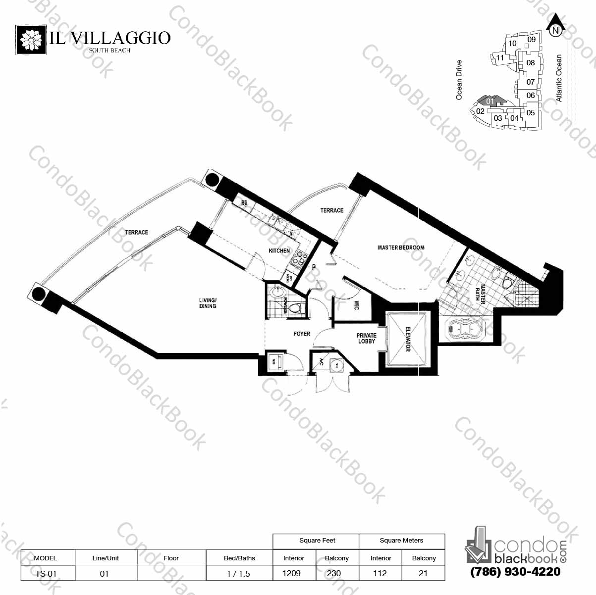 Floor plan for Il Villaggio South Beach Miami Beach, model TS-01, line 01, 1 / 1.5 bedrooms, 1209 sq ft