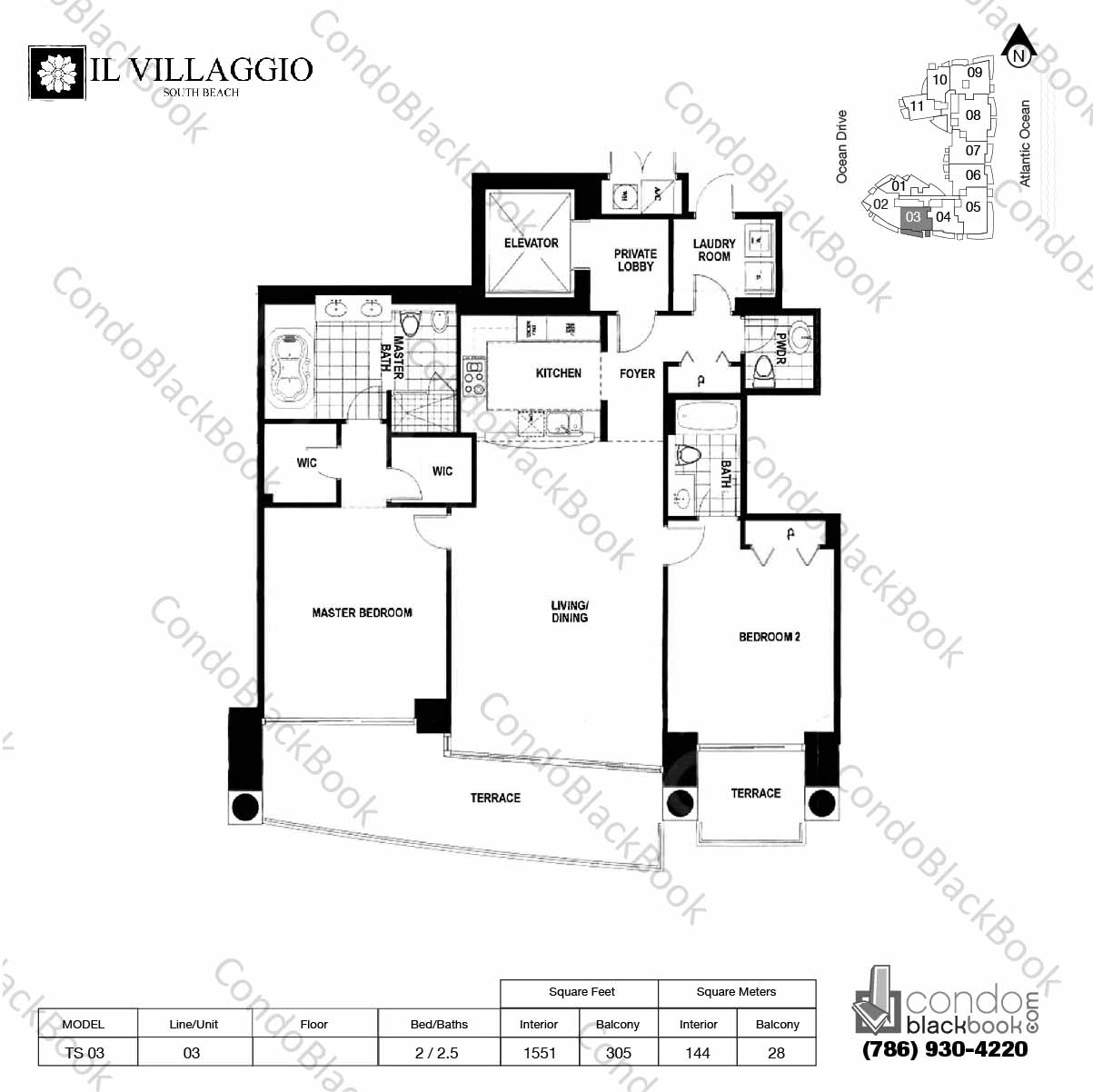 Floor plan for Il Villaggio South Beach Miami Beach, model TS-03, line 03, 2 / 2.5 bedrooms, 1551 sq ft
