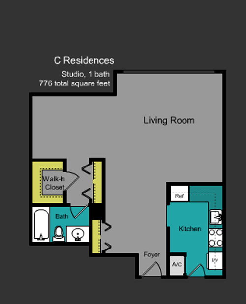 Floor plan for Mirador North South Beach Miami Beach, model C, line Line 01, 0/1 bedrooms, 776 sq ft