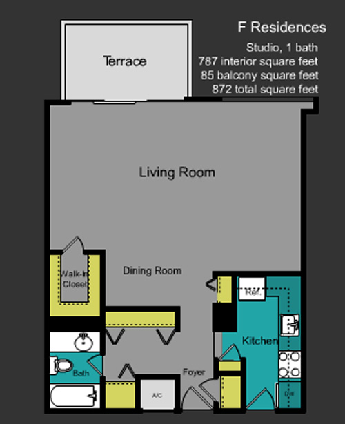 Floor plan for Mirador North South Beach Miami Beach, model F, line Line 31, 0/1+Balcony bedrooms, 787 sq ft