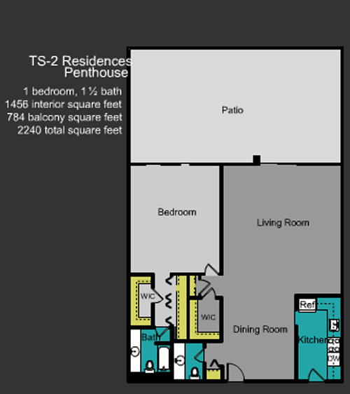 Floor plan for Mirador North South Beach Miami Beach, model TS_2, line Line 02, 1/1.5 +Balcony bedrooms, 1456 sq ft
