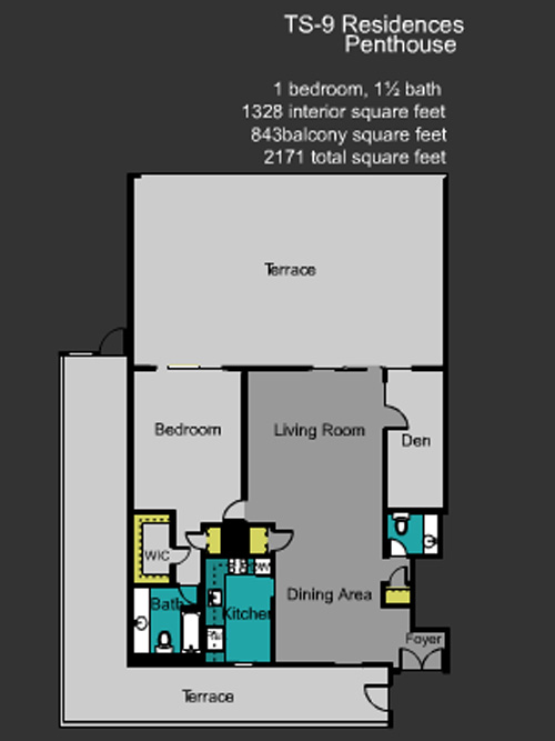 Floor plan for Mirador North South Beach Miami Beach, model TS_9, line Line 09, 1/1.5 +Balcony bedrooms, 1328 sq ft