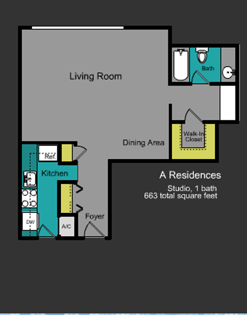 Floor plan for Mirador South South Beach Miami Beach, model A, line Line 01, 0/1  bedrooms, 663 sq ft