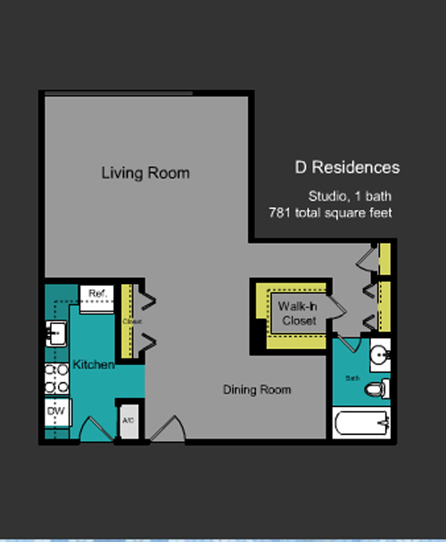 Floor plan for Mirador South South Beach Miami Beach, model D, line Line 05, 0/1 bedrooms, 781 sq ft