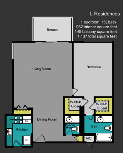 Floor plan for Mirador South South Beach Miami Beach, model L, line Lines 10,24, 1/1.5 bedrooms, 962 sq ft