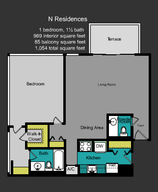 Floor plan for Mirador South South Beach Miami Beach, model N, line Line 29, 1/1.5 bedrooms, 959 sq ft