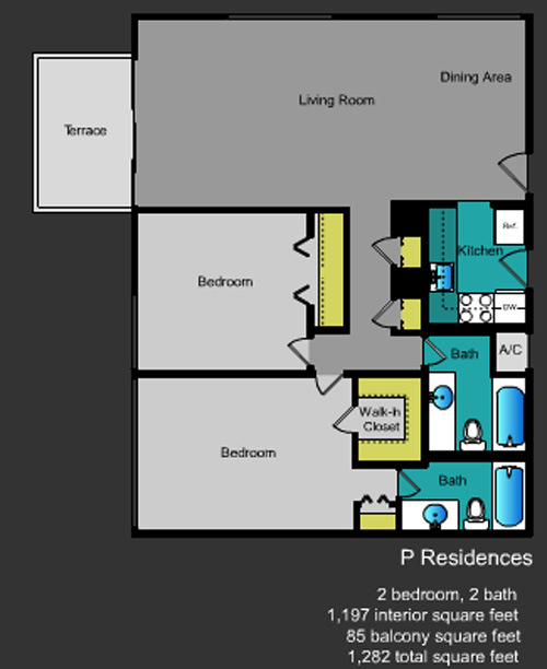 Floor plan for Mirador South South Beach Miami Beach, model P, line Line 11,25, 2/2 +balcony bedrooms, 1197 sq ft