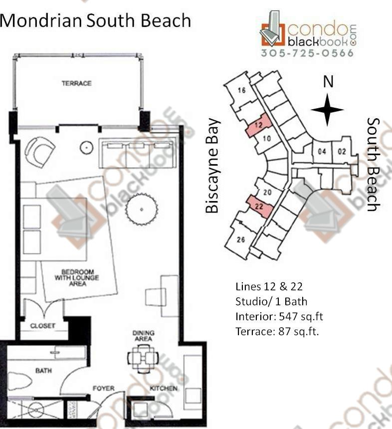 Floor plan for Mondrian South Beach Miami Beach, model A, line Line 12, 22, 0/1+Terrace bedrooms, 547 sq ft