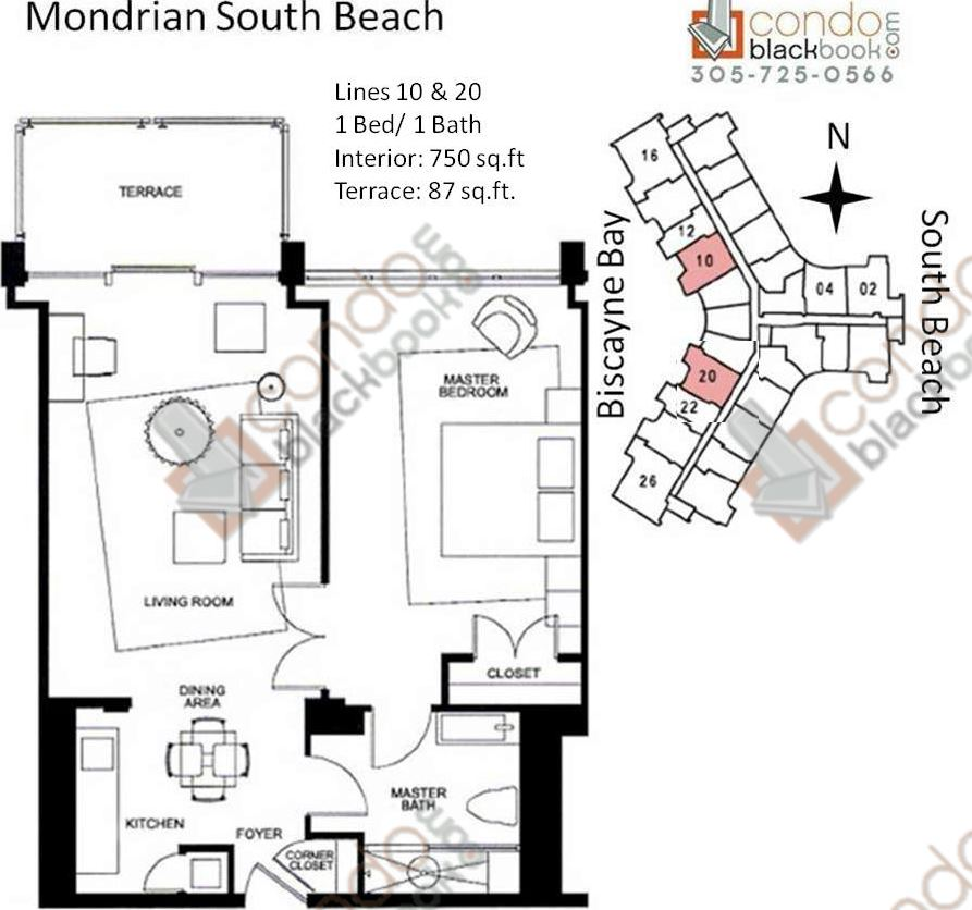 Floor plan for Mondrian South Beach Miami Beach, model J, line Lines 10,20, 1/1 +Terrace bedrooms, 750 sq ft