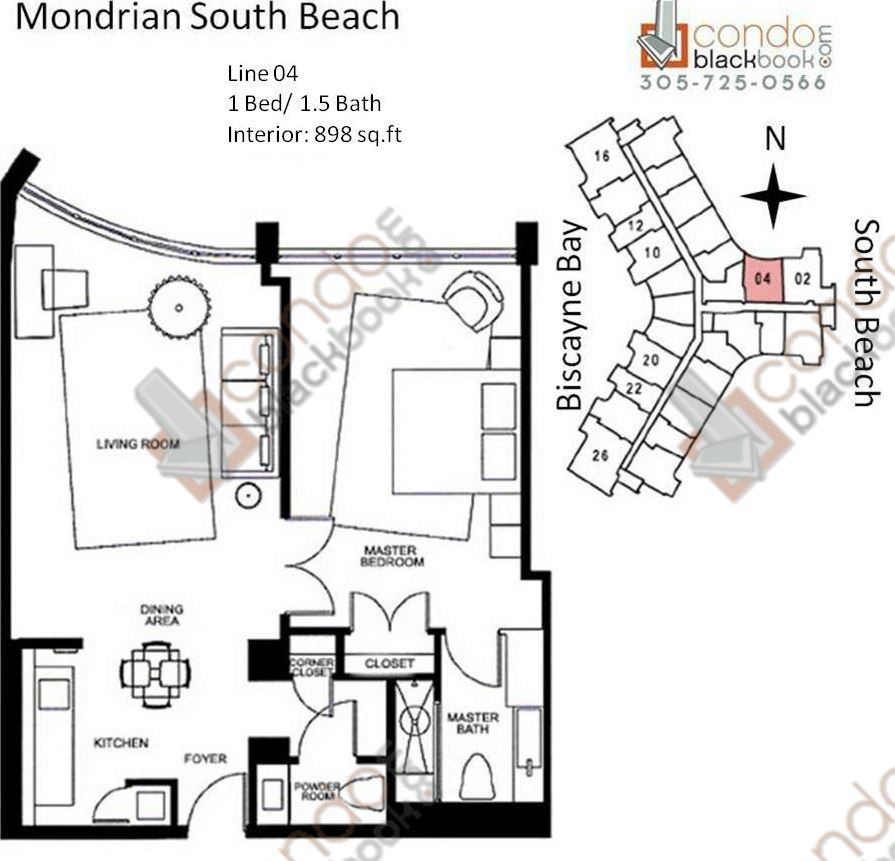 Floor plan for Mondrian South Beach Miami Beach, model N, line Line 04, 1/1.5 bedrooms, 898 sq ft