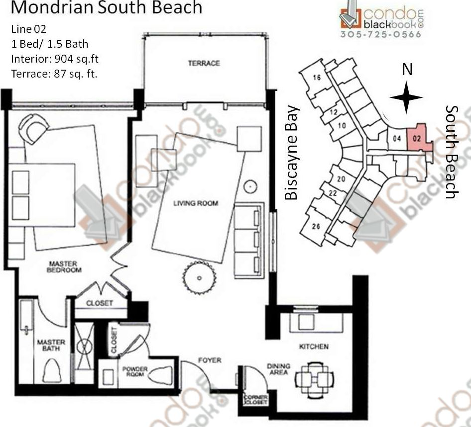 Floor plan for Mondrian South Beach Miami Beach, model O, line Line 02, 1/1.5 bedrooms, 904 sq ft