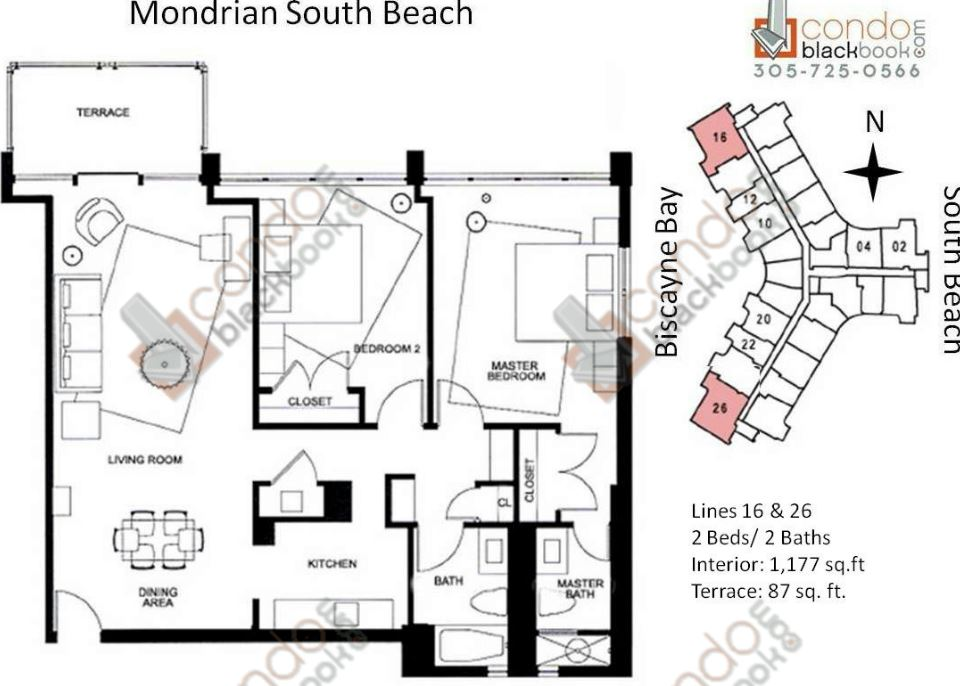 Floor plan for Mondrian South Beach Miami Beach, model P, line Lines 16,26, 2/2 +Terrace bedrooms, 1117 sq ft
