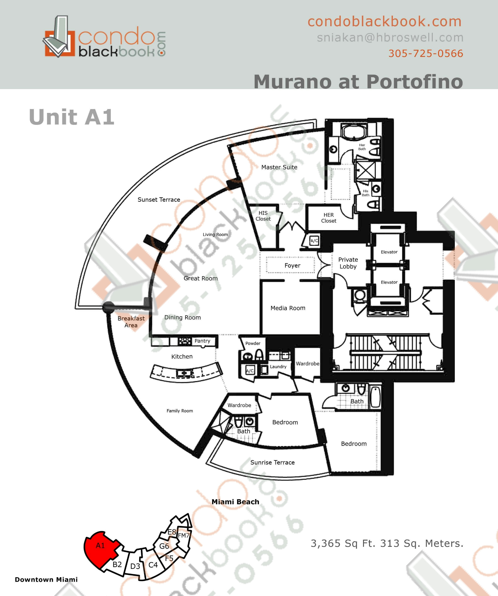 Floor plan for Murano at Portofino South Beach Miami Beach, model A, line Line 01, 3/4.5 bedrooms, 3365 sq ft