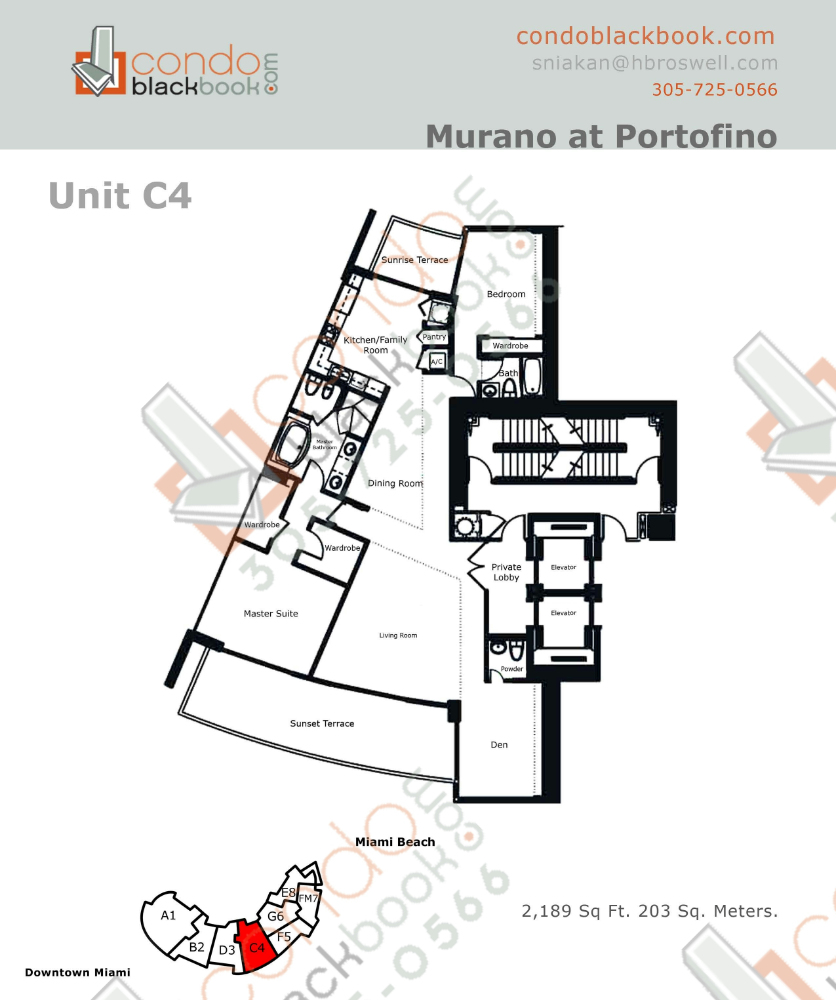 Floor plan for Murano at Portofino South Beach Miami Beach, model C, line Line 04, 3/3 bedrooms, 2189 sq ft
