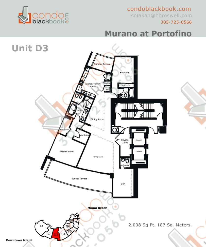 Floor plan for Murano at Portofino South Beach Miami Beach, model D, line Line 03, 2/2.5 +Den bedrooms, 2008 sq ft