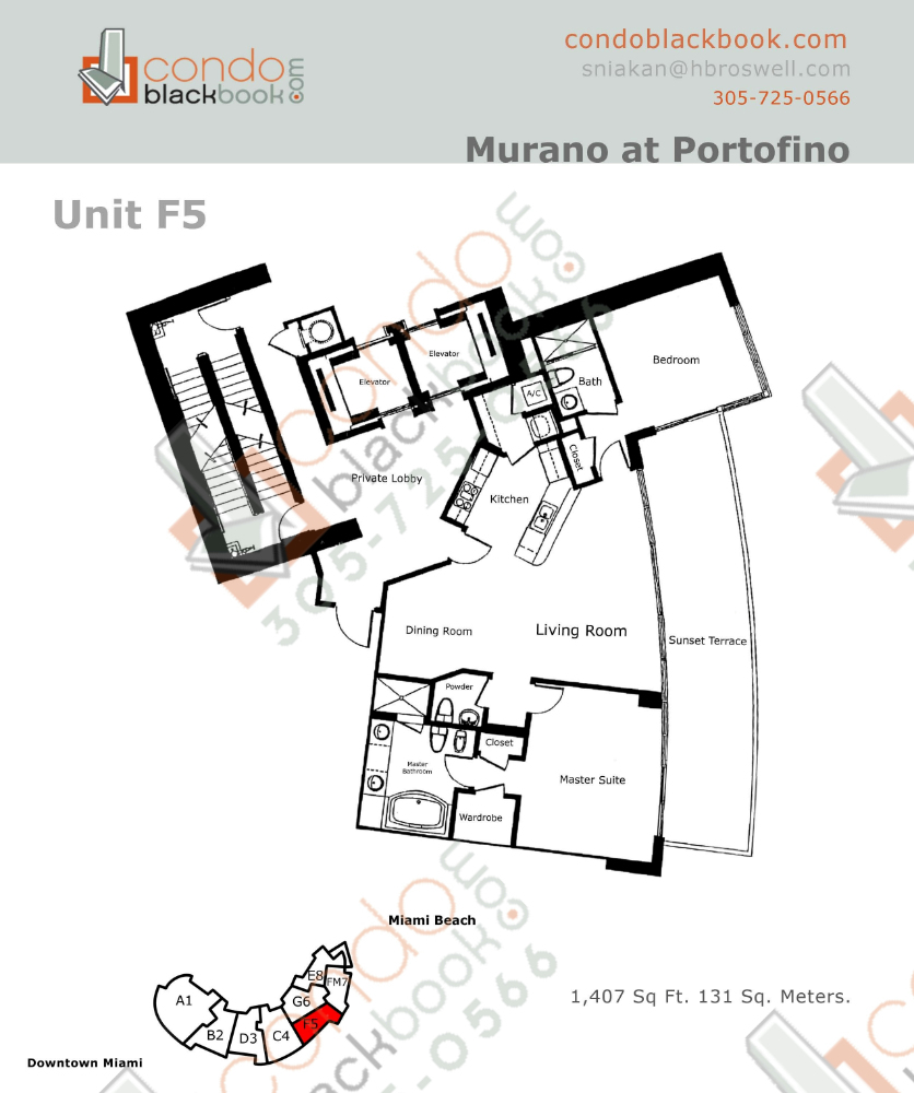 Floor plan for Murano at Portofino South Beach Miami Beach, model F, line Line 05, 2/2.5 bedrooms, 1407 sq ft
