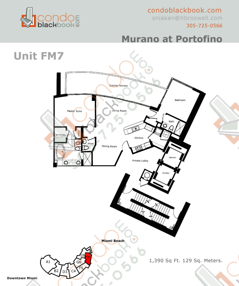 Floor plan for Murano at Portofino South Beach Miami Beach, model FM, line Line 07, 2/2.5 bedrooms, 1390 sq ft