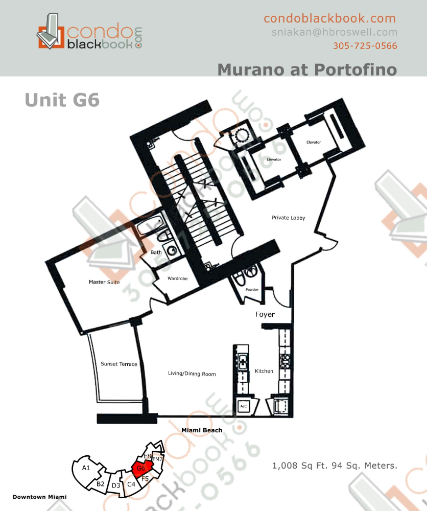 Floor plan for Murano at Portofino South Beach Miami Beach, model G, line Line 06, 1/1.5 bedrooms, 1008 sq ft