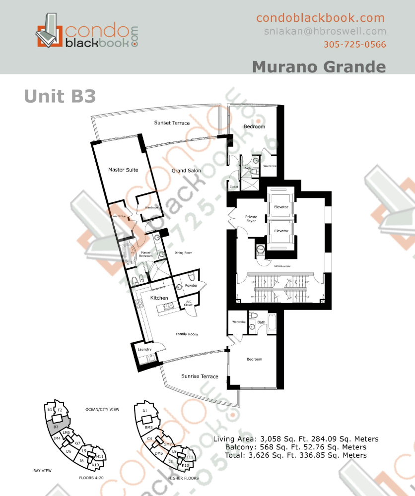 Floor plan for Murano Grande South Beach Miami Beach, model B, line 03, 3/3.5 bedrooms, 3,058 sq ft