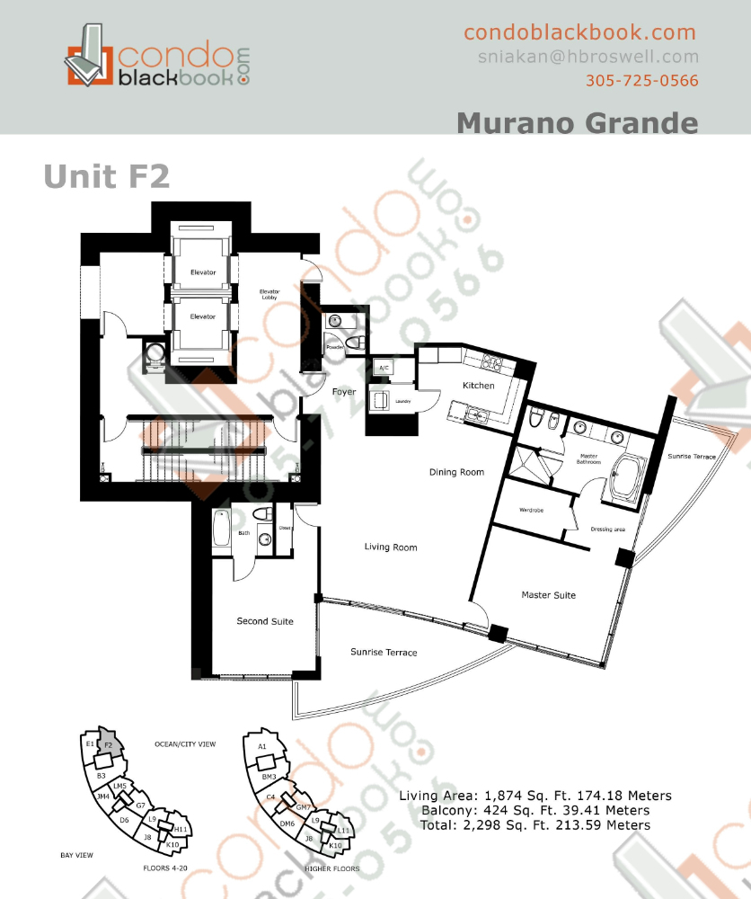 Floor plan for Murano Grande South Beach Miami Beach, model F, line 02, 2/2.5 bedrooms, 1,874 sq ft