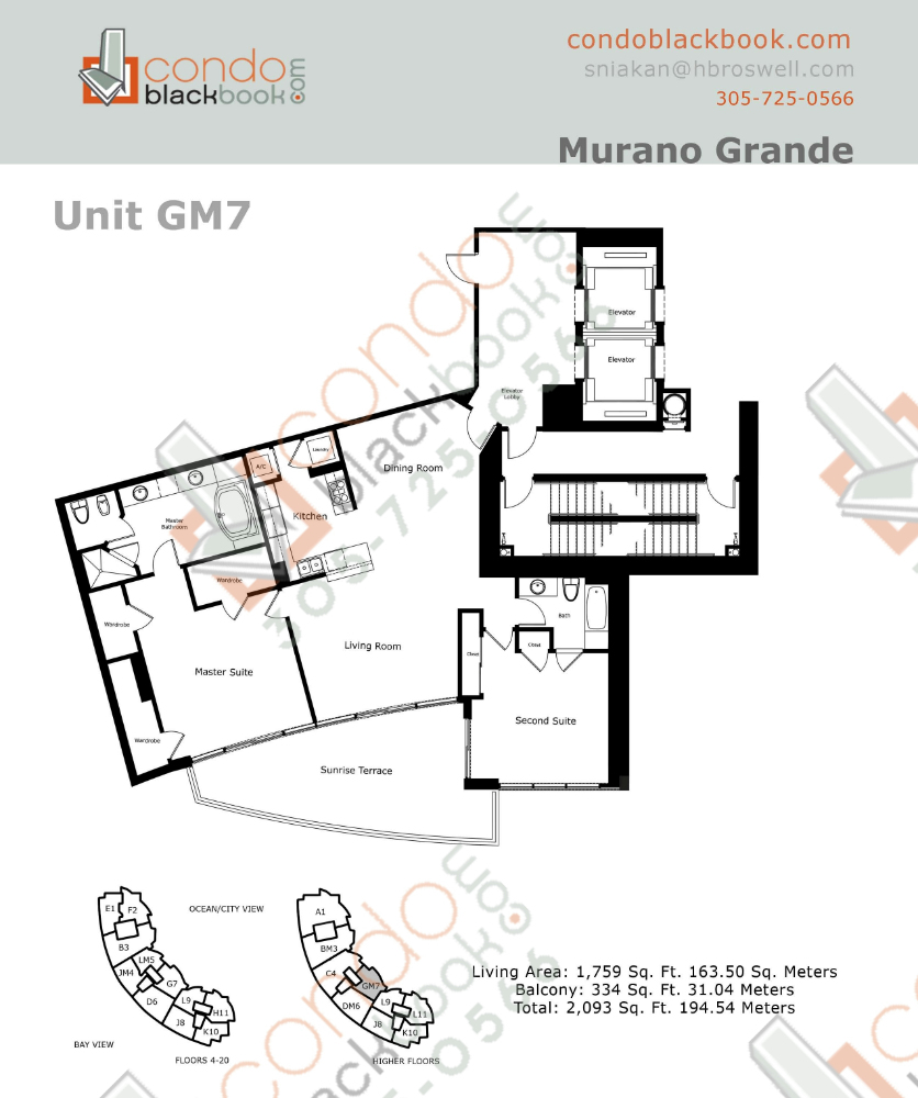 Floor plan for Murano Grande South Beach Miami Beach, model GM, line 07, 2/2 bedrooms, 1,759 sq ft