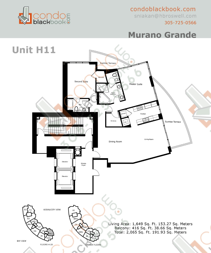 Floor plan for Murano Grande South Beach Miami Beach, model H, line 11, 2/2 bedrooms, 1,649 sq ft