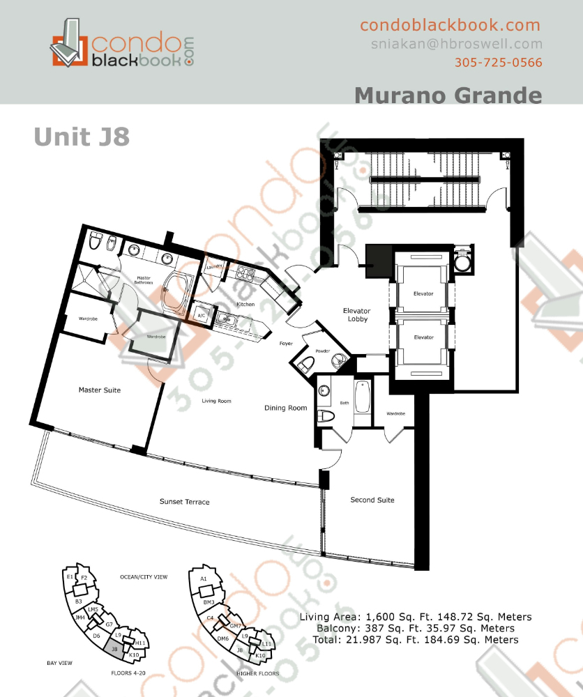 Floor plan for Murano Grande South Beach Miami Beach, model J, line 08, 2/2.5 bedrooms, 1,600 sq ft