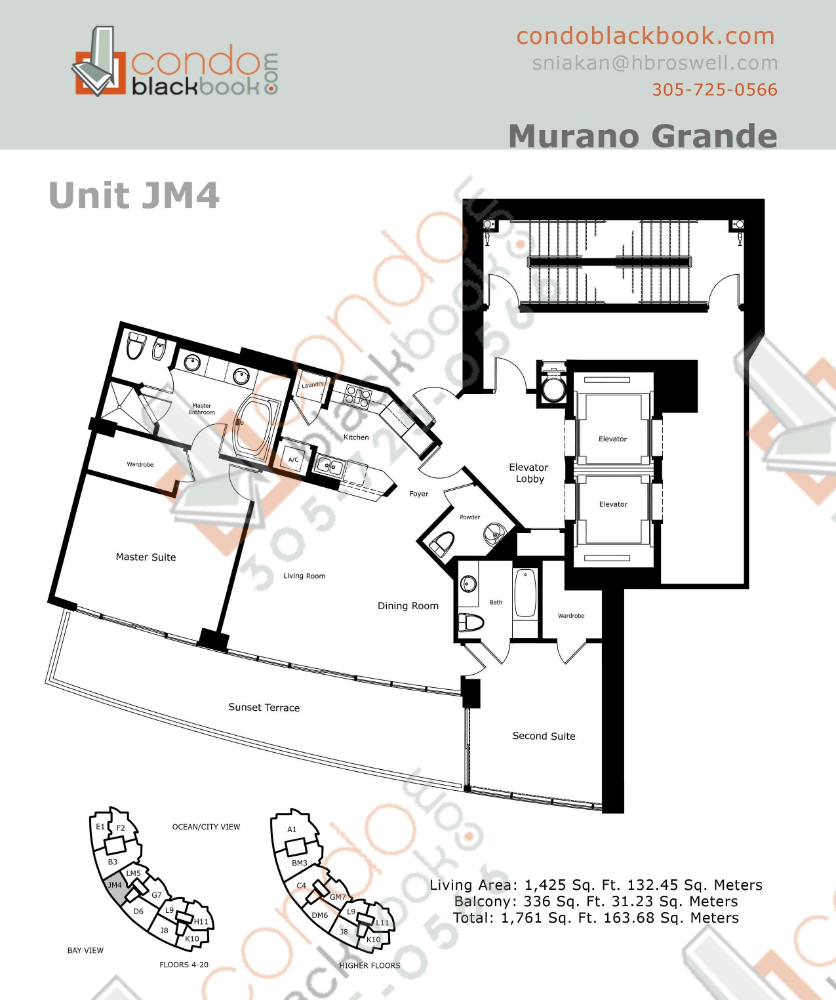 Floor plan for Murano Grande South Beach Miami Beach, model JM, line 04, 2/2.5 bedrooms, 1,425 sq ft