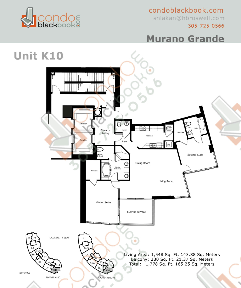 Floor plan for Murano Grande South Beach Miami Beach, model K, line 10, 2/2.5 bedrooms, 1,548 sq ft