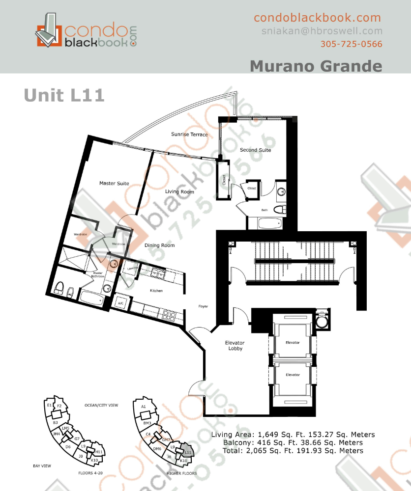 Floor plan for Murano Grande South Beach Miami Beach, model L, line 11, 2/2 bedrooms, 1,437 sq ft