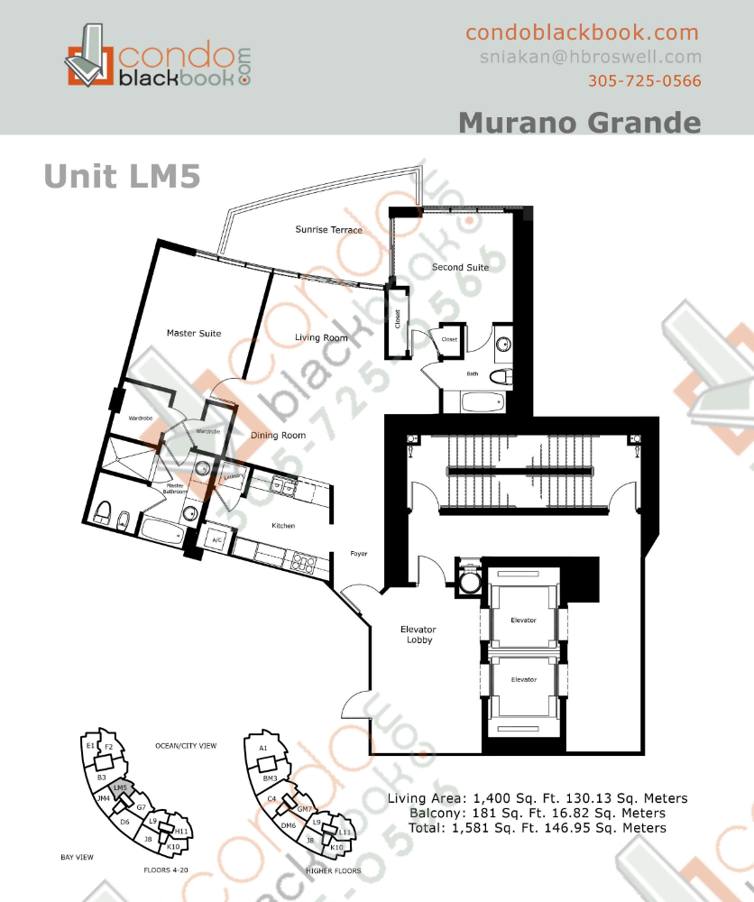 Floor plan for Murano Grande South Beach Miami Beach, model LM, line 05, 2/2 bedrooms, 1,400 sq ft