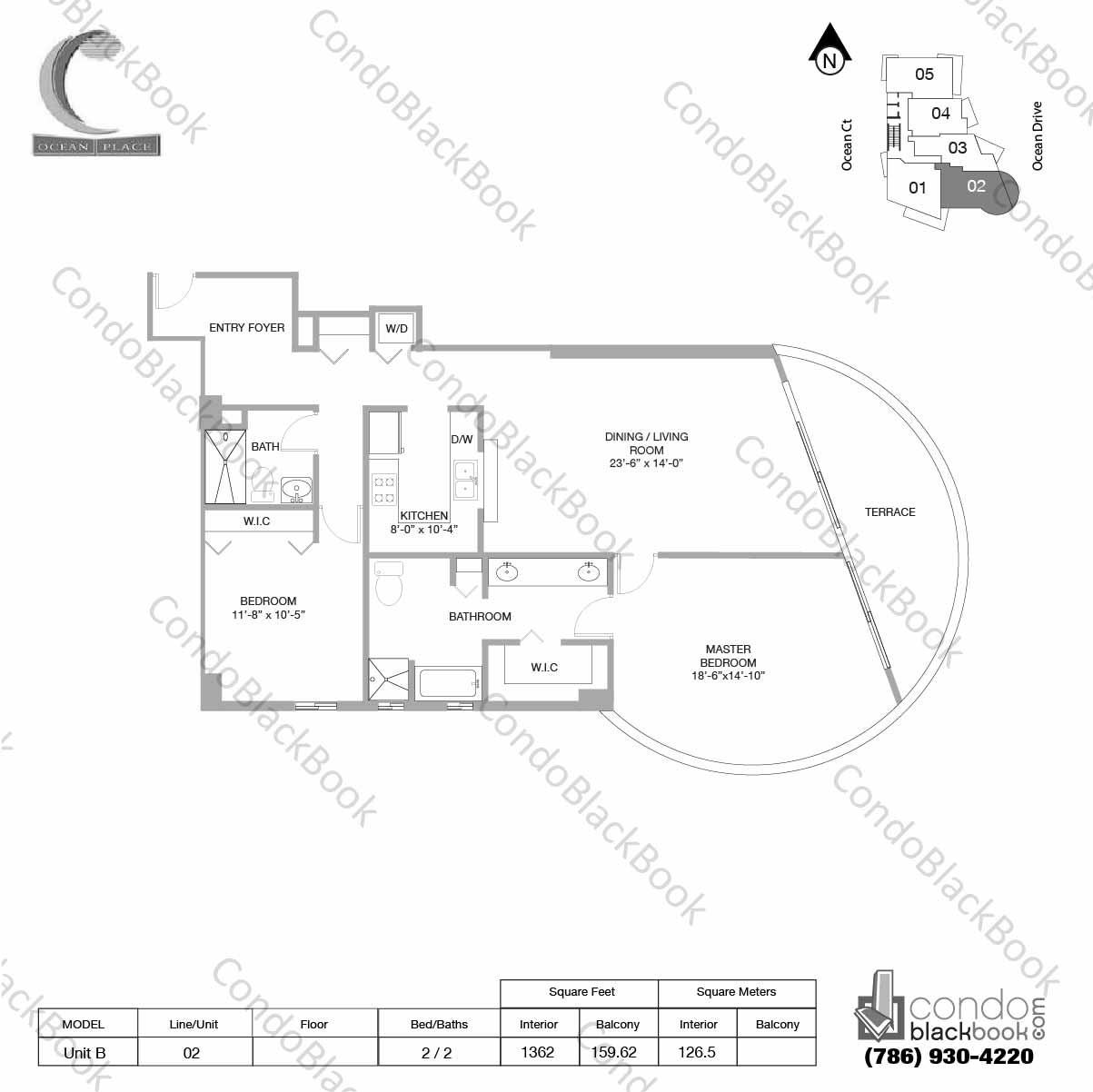 Floor plan for Ocean Place South Beach Miami Beach, model Unit B, line 02, 2 / 2 bedrooms, 1362 sq ft