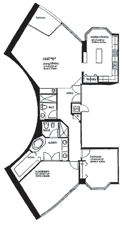 Floor plan for Portofino Tower South Beach Miami Beach, model B, line 03, 2/2 bedrooms