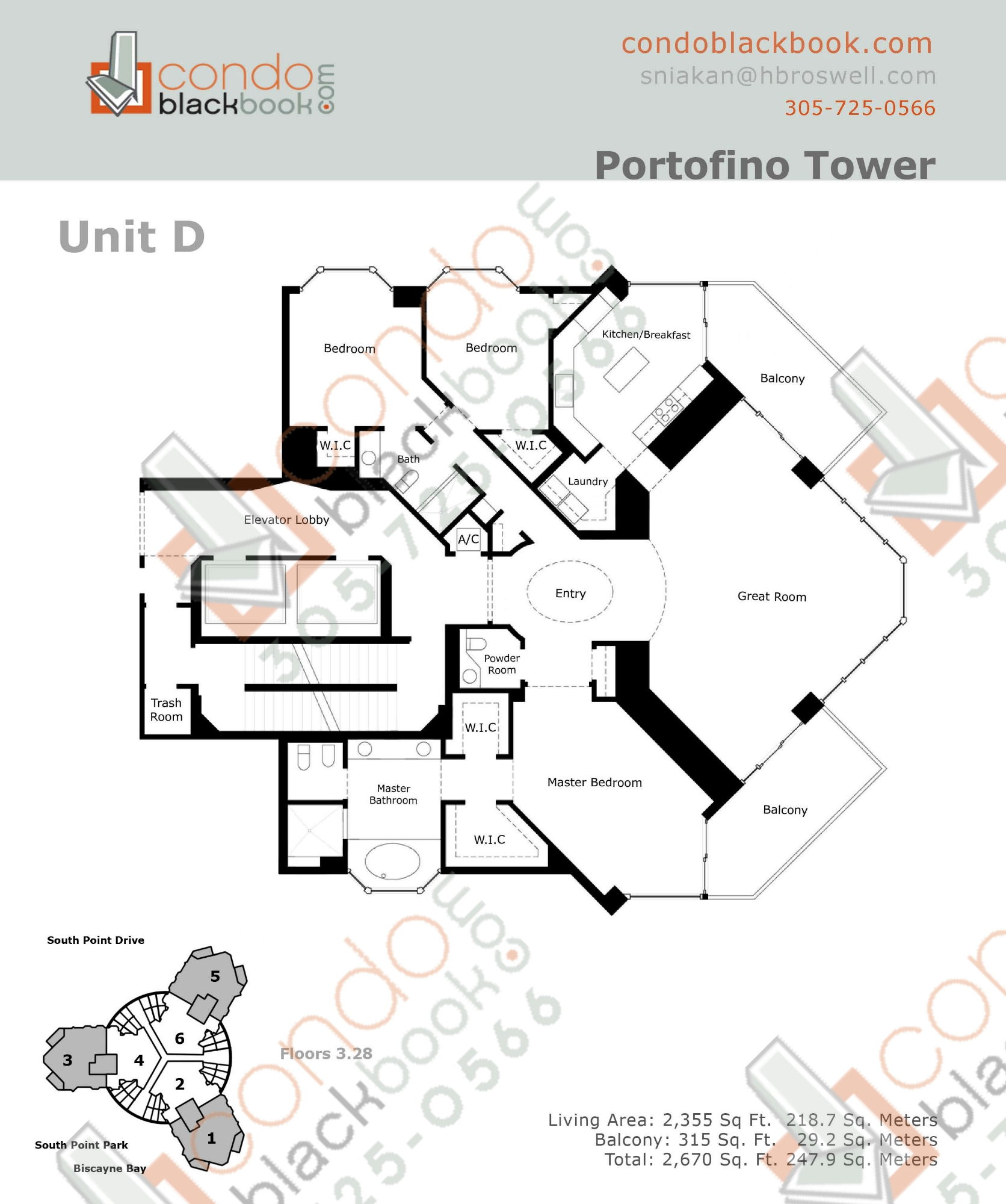 Floor plan for Portofino Tower South Beach Miami Beach, model D, line 05, 3/2.5 bedrooms, 2340 sq ft