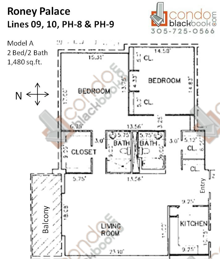 Floor plan for Roney Palace South Beach Miami Beach, model A, line 09, 10, PH-8, PH-9, 2/2 bedrooms, 1,480 sq ft
